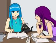 Celeste kuro y dayann estudiando