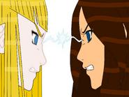 Edurne y Ringo peleando por Haruya