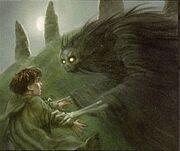Frodo word aangevallen door een grafgeest