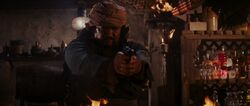 Mongolian about to shoot Jones