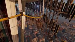 Delsin wspina się po przewodzie na Space Needle (inFamous Second Son)