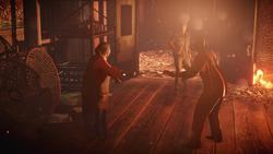 Betty, Delsin i Hank w płonącej fabryce konserw (inFamous Second Son)