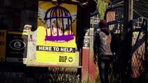 Delsin przed przemalowanym plakatem DOZ w trailerze E3 (inFamous Second Son)
