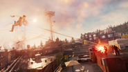 Good Delsin fights with drug dealers mid-air