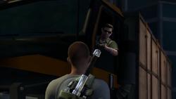 Cole spostrzega Zeke'a za kierownicą ciężarówki milicji (inFamous 2)