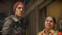 Delsin i Betty słuchają szeryfa (inFamous Second Son)
