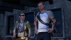Zeke i Cole w obozie we Flood Town (inFamous 2)