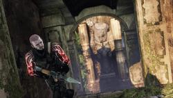 Zły Cole trzyma wyrzutnię rakiet (Uncharted 2 Among Thieves)