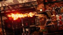 Bohaterski Delsin w kurtce Cole'a wystrzeliwuje żarową rakietę w locie (inFamous Second Son)