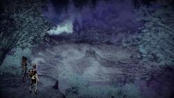 Nix i Cole spoglądają na krater (inFamous 2)