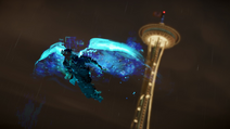Delsin używa skrzydlatego skoku na tle Space Needle (inFamous Second Son)