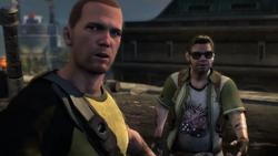 Cole i Zeke wśród gruzów laboratorium Wolfe'a (inFamous 2)