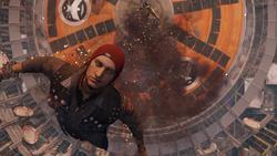 Delsin wykonuje zrzut z orbity na szczycie Space Needle (inFamous Second Son)