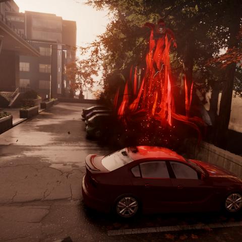 Zły Delsin wykonuje wyskok z samochodu.