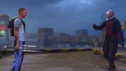 Konfrontacja z Bertrandem na dachu budynku Molloy (inFamous 2)