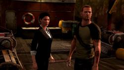 Kuo i Cole patrzą na blokadę milicji (inFamous 2)