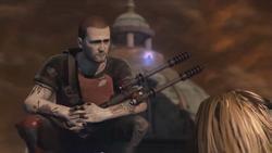 Niesławny Cole trzyma Amp'a (inFamous 2)