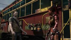 Cole rozmawia z Nix przed wagonem (inFamous 2)