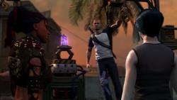 Cole stoi na urządzeniu przesyłowym (inFamous 2)