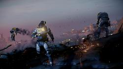 Delsin uderza z komety w oddział DOZ-owców na moście (inFamous Second Son)