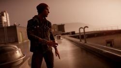 Delsin rozmawia przez telefon na starcie misji Quid pro Quo (inFamous Second Son)