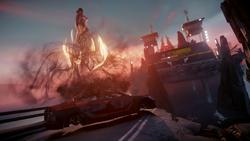 Delsin wykonuje wyskok z samochodu na moście prowadzącym do dzielnicy Lantern (inFamous Second Son)