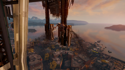 Delsin szybuje do drabinki na Space Needle (inFamous Second Son)