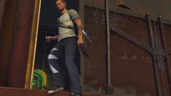 Cole wychodzi z wagonu towarowego (inFamous 2)