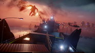Delsin glides through containers during The Test mission