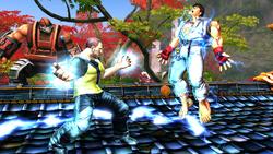 Cole traktuje Ryu impulsem kinetycznym (Street Fighter X Tekken)