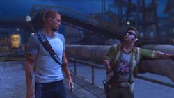 Cole spotyka się z Zeke'iem przy dokach (inFamous 2)