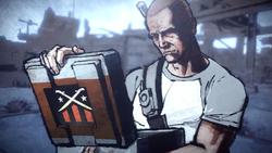 Cole przegląda teczkę Bertranda (inFamous 2)