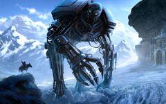 457687 art robot gigantskij sneg chelovek vsadnik kon mec 1680x1050 (www.GdeFon.ru)