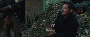 Aldo Raine sniffs some tobacco