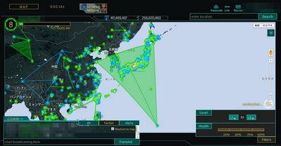 日本列島を緑色に覆う巨大フィールド