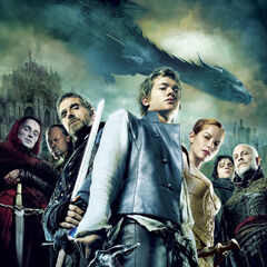 The sixth Eragon poster. It features a shot of the cast, as well as Saphira.