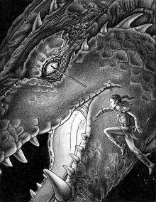 Arya y shruikan. Extraído de Paolini
