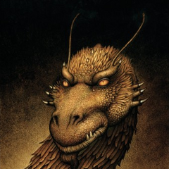 Glaedr as seen on the cover of the German edition of <i>Brisingr</i>