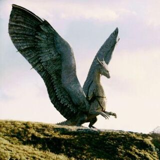 Saphira rearing and flaring her wings