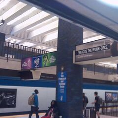 A banner ad featuring Fear and Disgust seen at a BART station during the first week of the film's release.