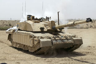 Challenger 2 Main Battle Tank patrolling outside Basra, Iraq MOD 45148325