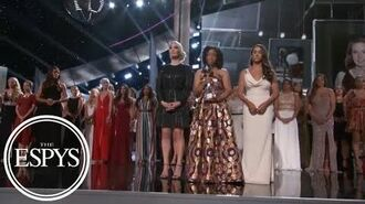 'Sister survivors' moment of solidarity accepting Arthur Ashe Courage Award ESPYS 2018 ESPN