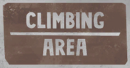 Climbing area sign