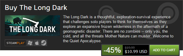 Happy Thanksgiving! The Long Dark is 45% Off in the Steam Exploration Sale