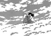 Inuyasha and kagome watched the sky