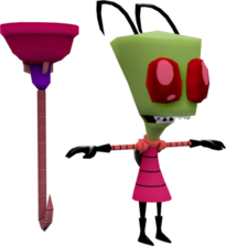 Modelo 3d de zim con destapacaños en globs of doom