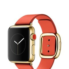 Yellow Gold Apple Watch Edition with Red Modern Buckle Band