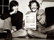 Steve Jobs and Bill Atkinson with Macintosh
