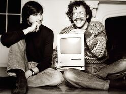 Steve Jobs and Bill Atkinson with Macintosh