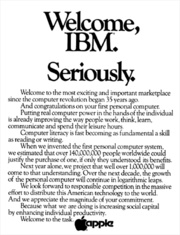 Welcome, IBM. Seriously. Apple print ad